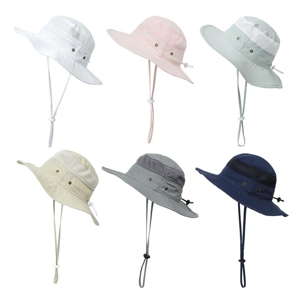5pcs Kids Bucket Hat 6 Färger Pojkar Tjejer Solskydd Kepsar Mesh Splicing Utomhus Mössor Justering Visor Cap Barn Boutique Tillbehör