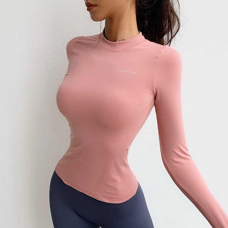 Womengaga Girls Langarm Frauen Dünne Atmungsaktive Laufsport Top Schnell Trocknung Training Fitness T Shirt T Shirts Tops Koreanisch 2Z5o 210603