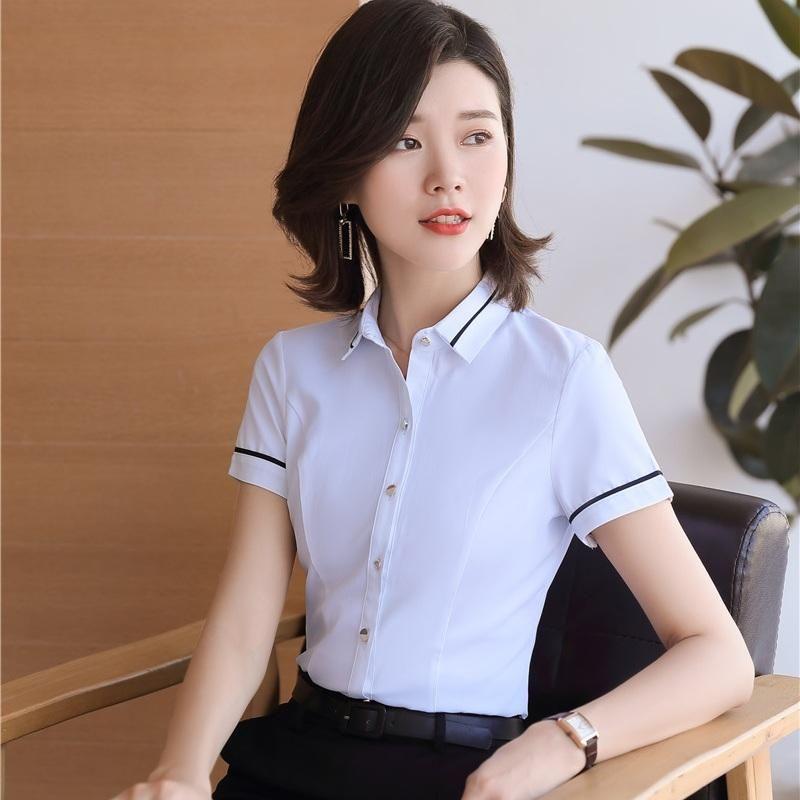 Camicette da donna Camicie Summer Donne Donne Bianco Manica Corta Ufficio Ladies Work Vestiti femminili Top