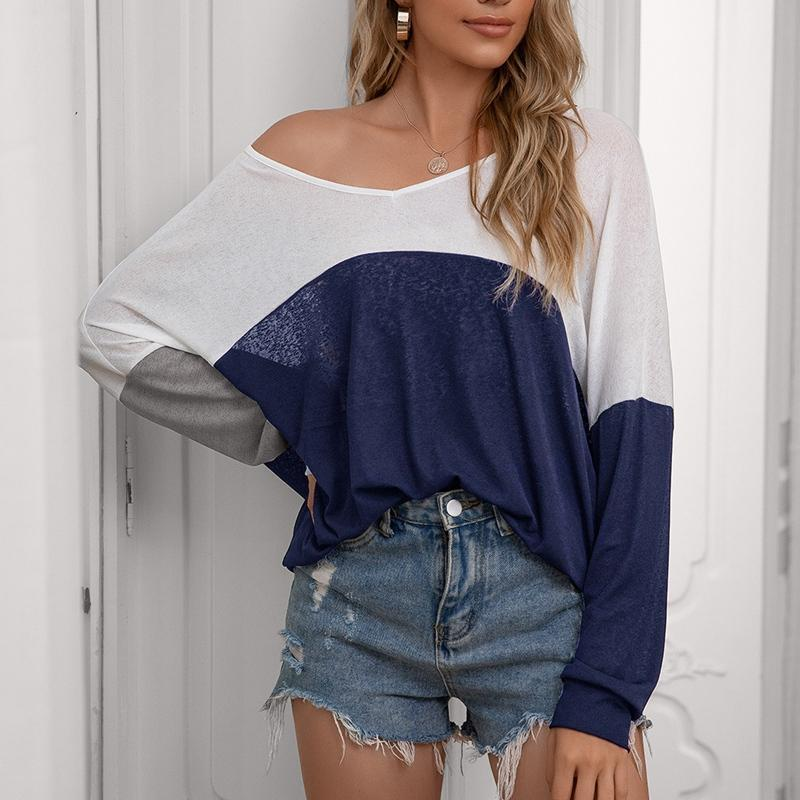 Women's T-Shirt Spring Ladies Casual Loose Contrast Color Stitching Top Fashion Long-Sleeved Tops
