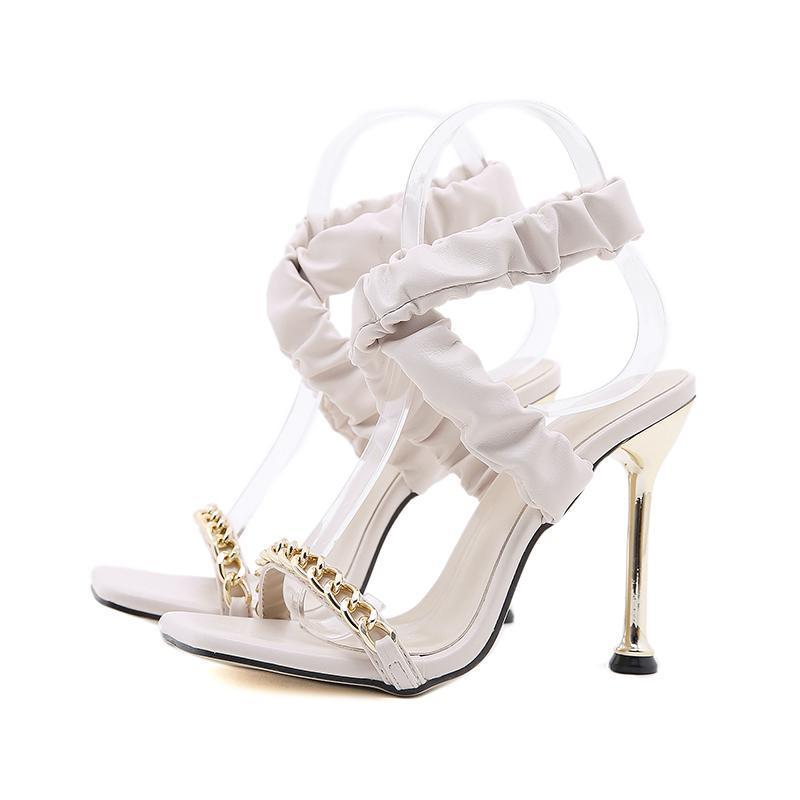 Sandalet Kadınlar Yaz Moda Pileli Rhinestone Tüm Maç Metal Dekorasyon Açık Toe Yüksek Topuk Elbise Ayakkabı