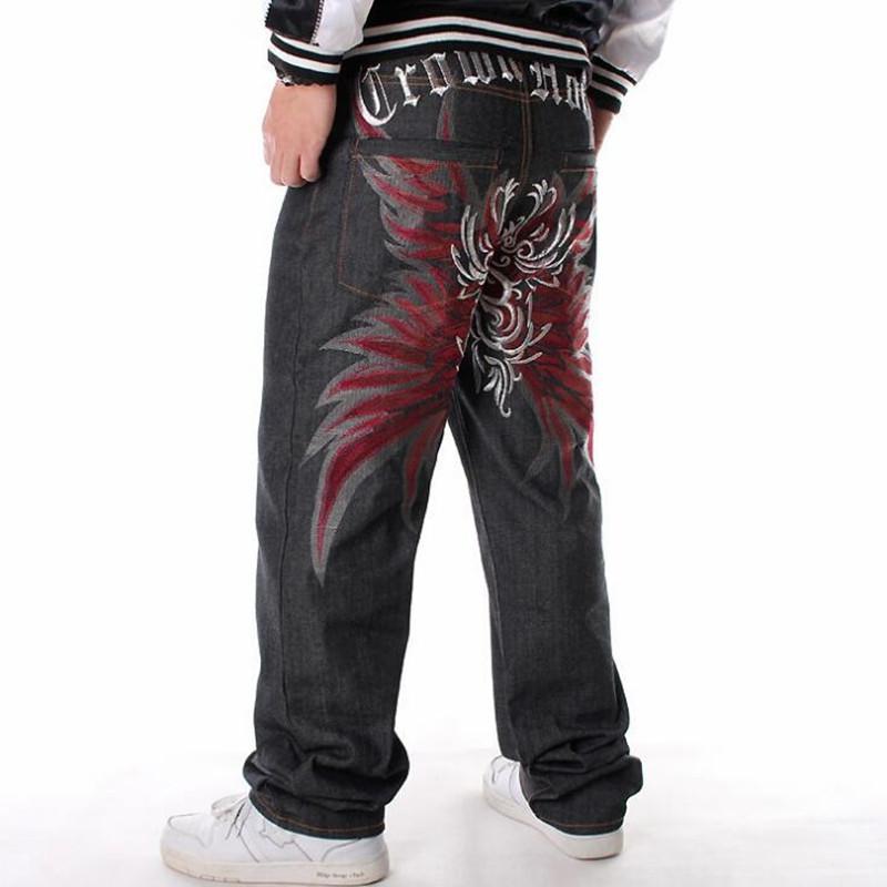 Jeans da uomo in stile largo moda Hiphop allentato Big Pocket Boys Skateboard Rap Punk Distressed Black Cowboy Pantaloni