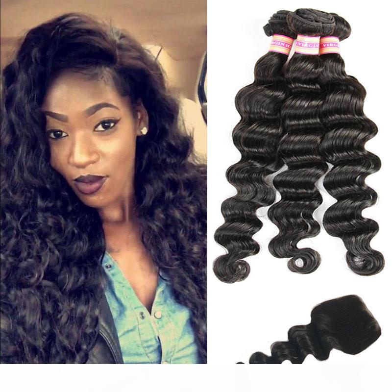 Peruvian Virgin Human Hair Bundles Loose Wave With Closure Loose Deep Hair Extensions Bundles With Closure