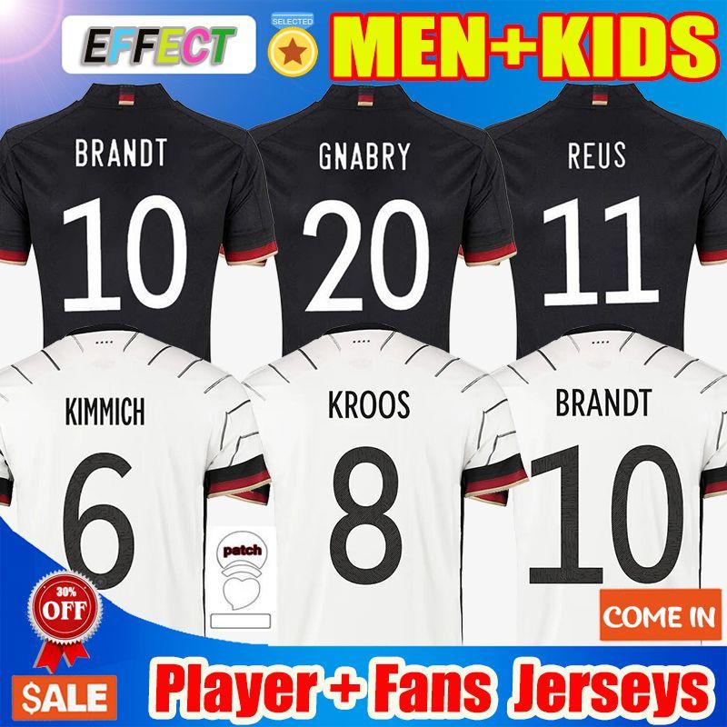 독일 축구 유니폼 2021 팬 플레이어 버전 Hummels Kroos Gnabry Werner Draxler Reus Muller Gotze Cup Football Shirt 홈 멀리 유니폼 남성 + 키트 키트