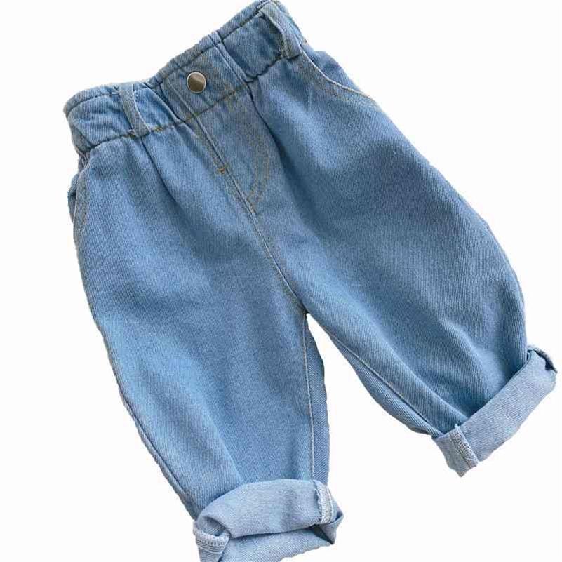 Outono e inverno novo jeans bebê menina roupas bebê menino roupas de cintura alta cor sólida aquecer jeans roupas infantis 210331