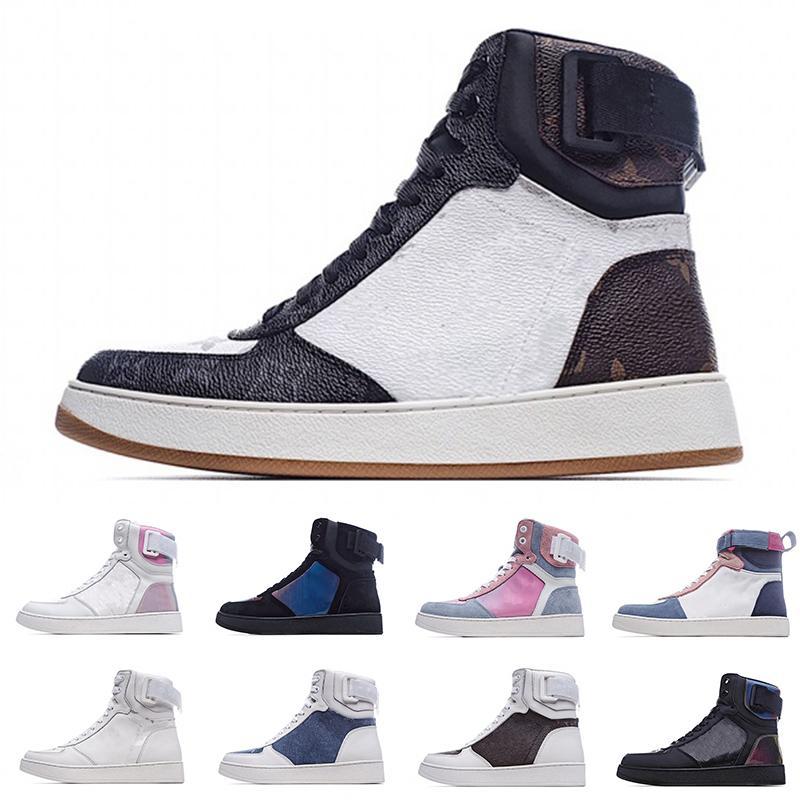 [مع صندوق] أحدث تفضيل أحدث مصمم الحذاء ريفولي رياضة الرجل النساء الأحذية كالفسكين حقيقية عالية المدربين الأزرق الأحمر عارية الزخارف خمر عارضة الأحذية
