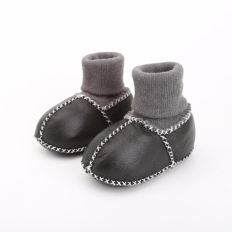 Boots High Quality 100% Real Sheepskin Baby Snow Toddlers Genuine Leather Prewalkers Soft Sole Shoes