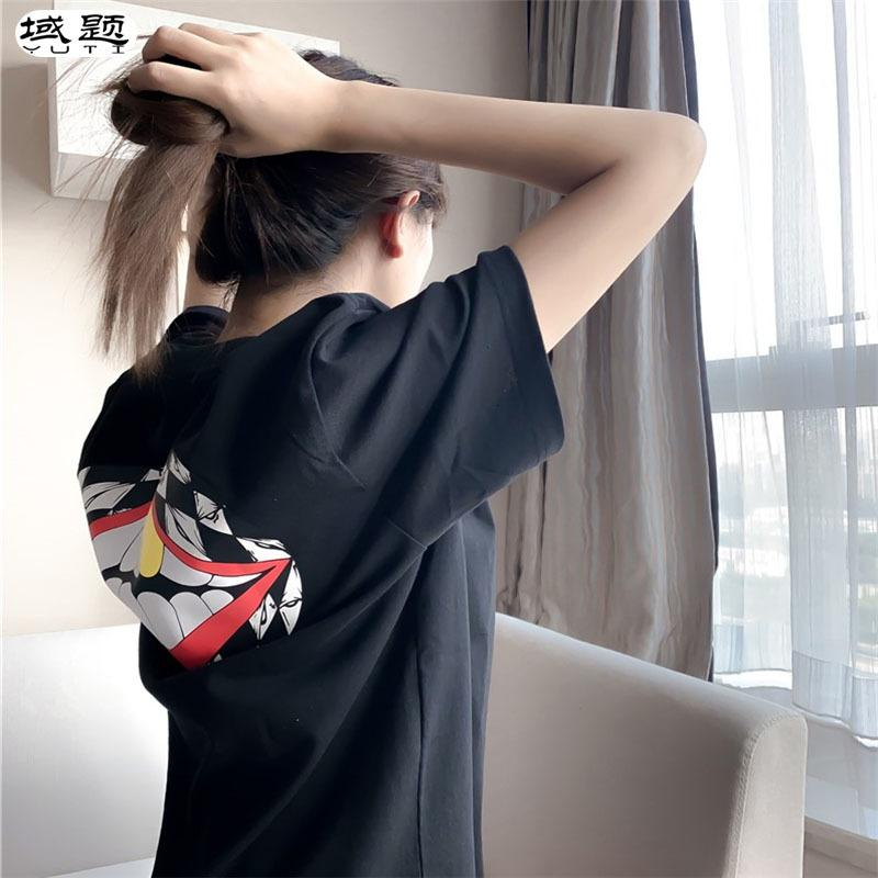 Kısa Kollu T-shirt Pamuk kadın Gevşek 2021 Yaş Azaltma Croxin Kırmızı Dudaklar Orta Uzunlukta Çift Yüksek Sonu Yeni Moda