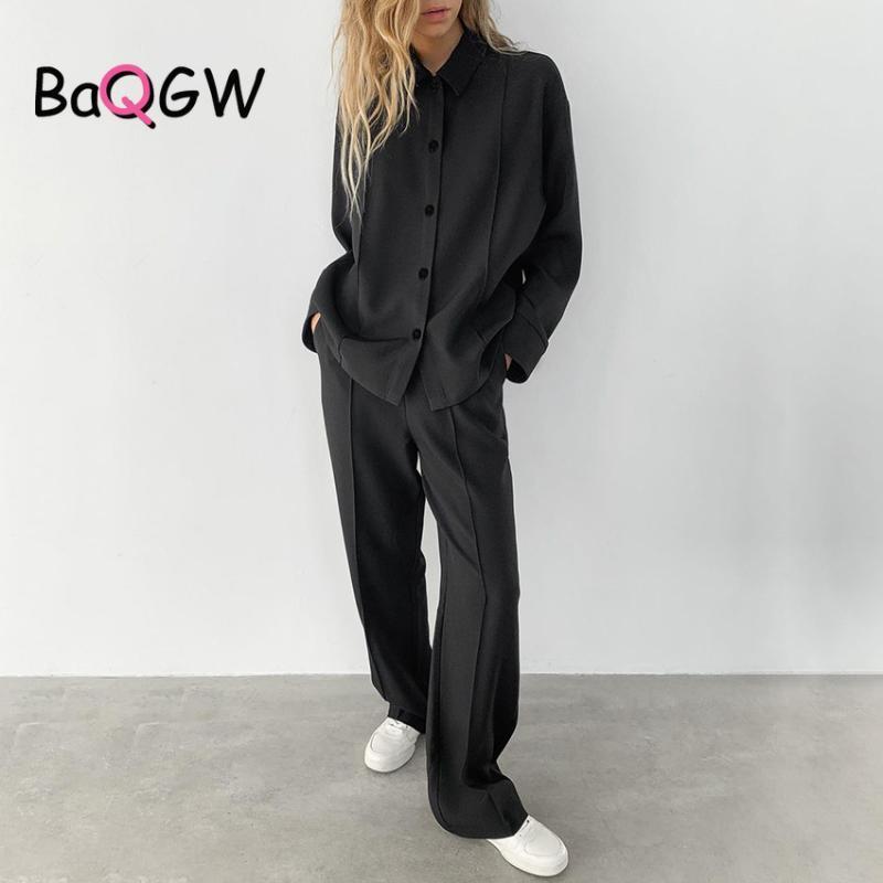 BAQGW Vintage Black Office Dame 2PS Set Femmes Casual Taille High Taille Pantalon de jambe plissée Pantalon classique Mesdames Association Ensembles Femmes Tarch