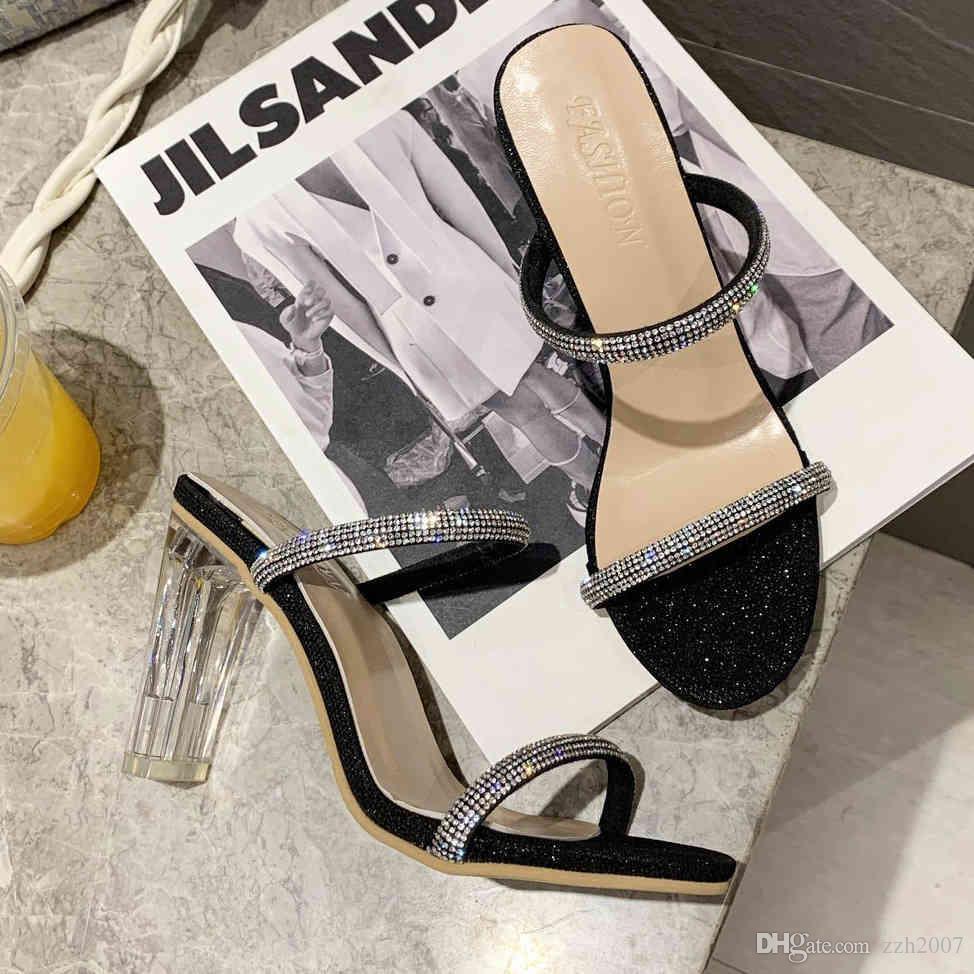 النساء النعال الشرائح عالية الكعب النعال الصيف النساء الأحذية النسائية السيدات أزياء العلامة التجارية الفاخرة المصممين النعال للنساء