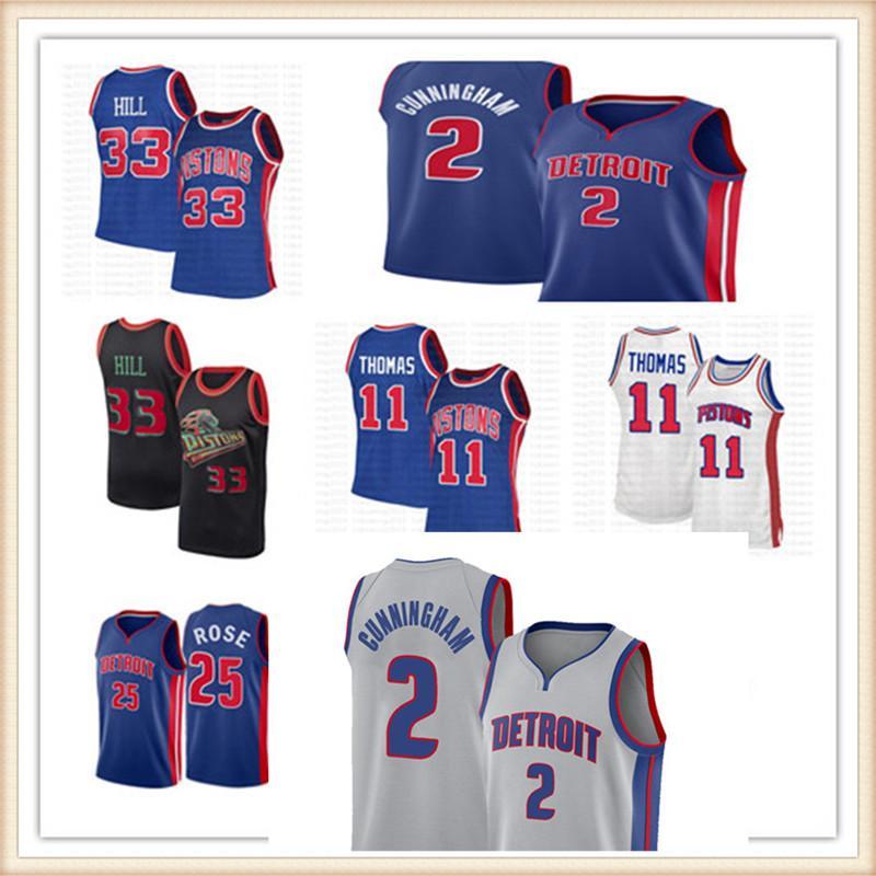 "CADE 2 CUNNINGHAM JERSEY DETROIT ""PISTONES"" Jerseys de baloncesto Grant 33 Hill Derrick 25 Rose Isiah 11 Thomas Dennis10 Rodman Top"