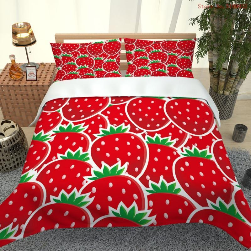 Bedding Sets Strawberry Duvet Cover 2/3 Piece Fruit Set Twin Full Queen King Size Bed Linen 3D Printing Quilt Bedspread