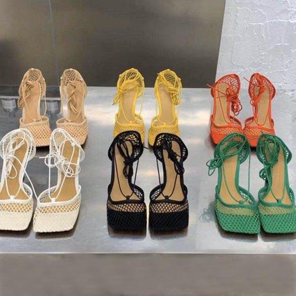 Zapatos de vestir de tacón alto para mujer Malla de moda Malla cuadrada de punta de sandalia mujer oficina zapato de fiesta con caja