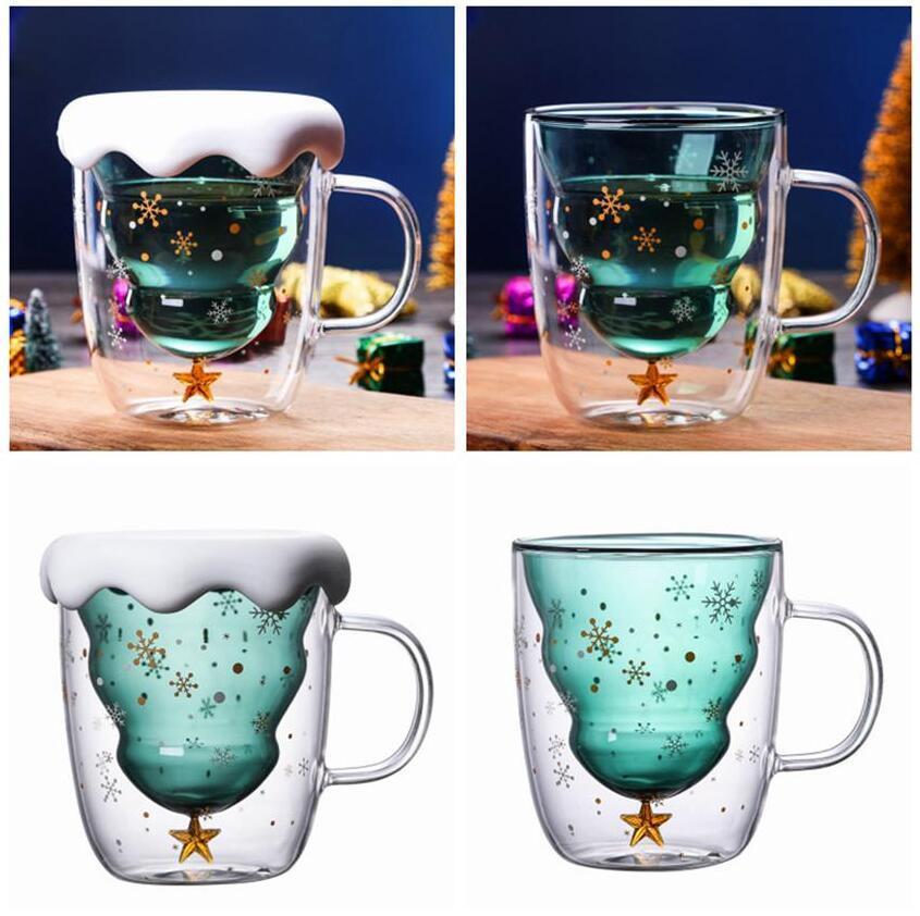 Árbol de Navidad Taza de cristal Tazas Tazas Resistente al calor Vidrios Doble Capa Botella Desayuno Avena de la harina de avena Taza de consumo de alcohol Taza de consumo de agua 300ml
