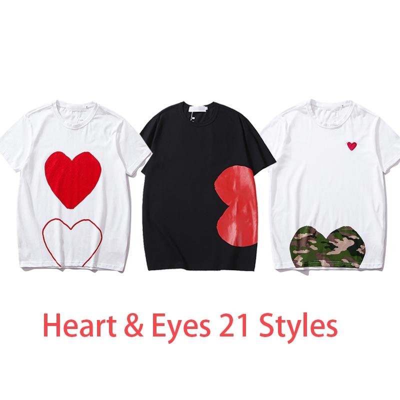 Женщины моды Tees летние футболки женские вершины с сердцем глазами печатание мужчин футболки женские мальчики девушки пуловер с коротким рукавом