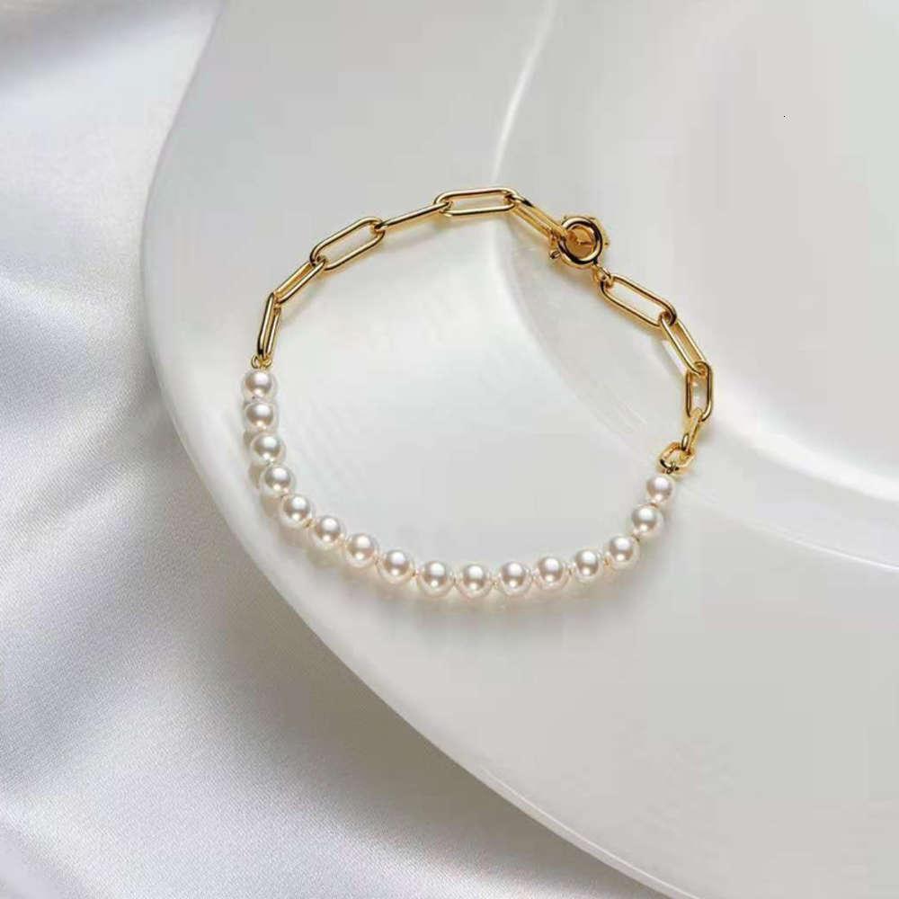HBP japonés y estilo coreano cadena de diseño de empalme pulsera de perlas 925 plata simple pulsera de la joyería de la perla de las mujeres