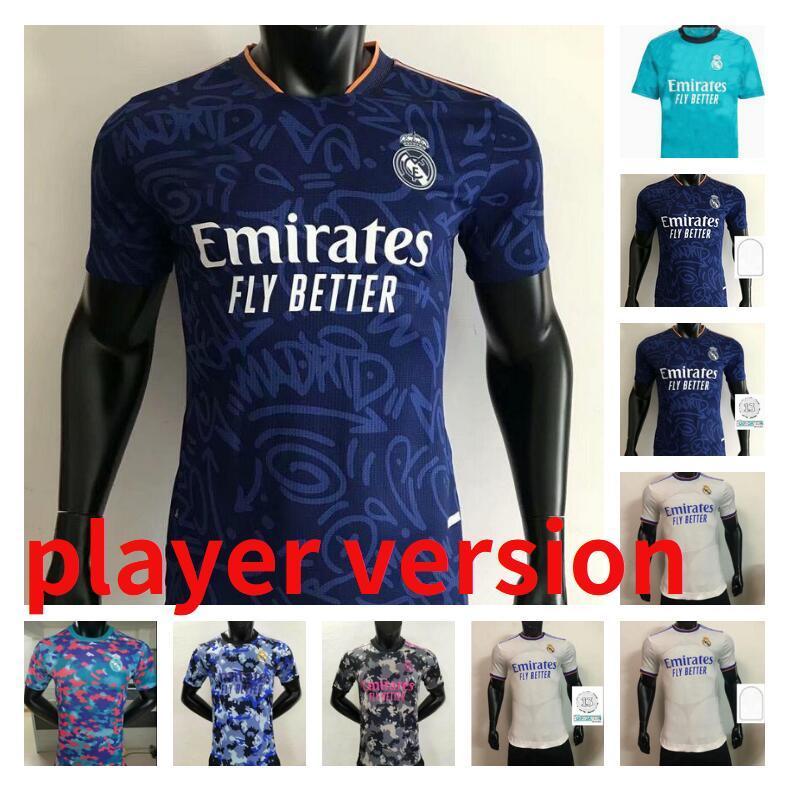 Игрок версия 20 21 22 Real Madrid Hazard Soccer Jersey 2021 2022 Benzema Sergio Ramos Kroos Футболка