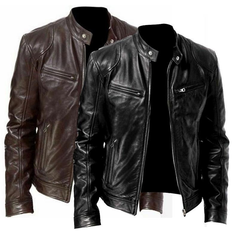 Мужской из искусственного меха Laamei Spring Motorcycle Cusal Старинные пальто Мужчины наряд моды мода карманный карманный дизайн PU крутая кожаная куртка