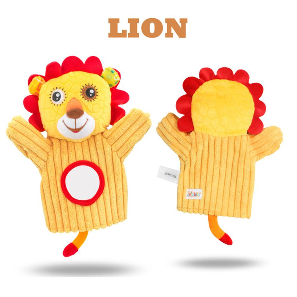 Baby Soft Stuffed Cartoon Animals Plush Doll Rattle Toys Distorting Mirror Hand Puppet for Infant Toys Interactive Appease Toys C0331