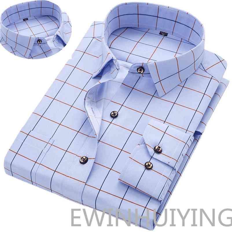 Fashion Men's Long-sleeve Shirts Young Men's Korean Slim Business Shirts Casual All-match Plaid Square Collar Shirts 210414