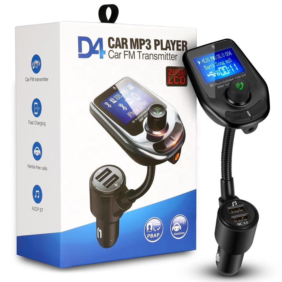 D4 car FM Transmitter MP3 Player Fast USB Charger Audio Music Receiver Hands Free Bluetooth Kit Multipoint Speaker