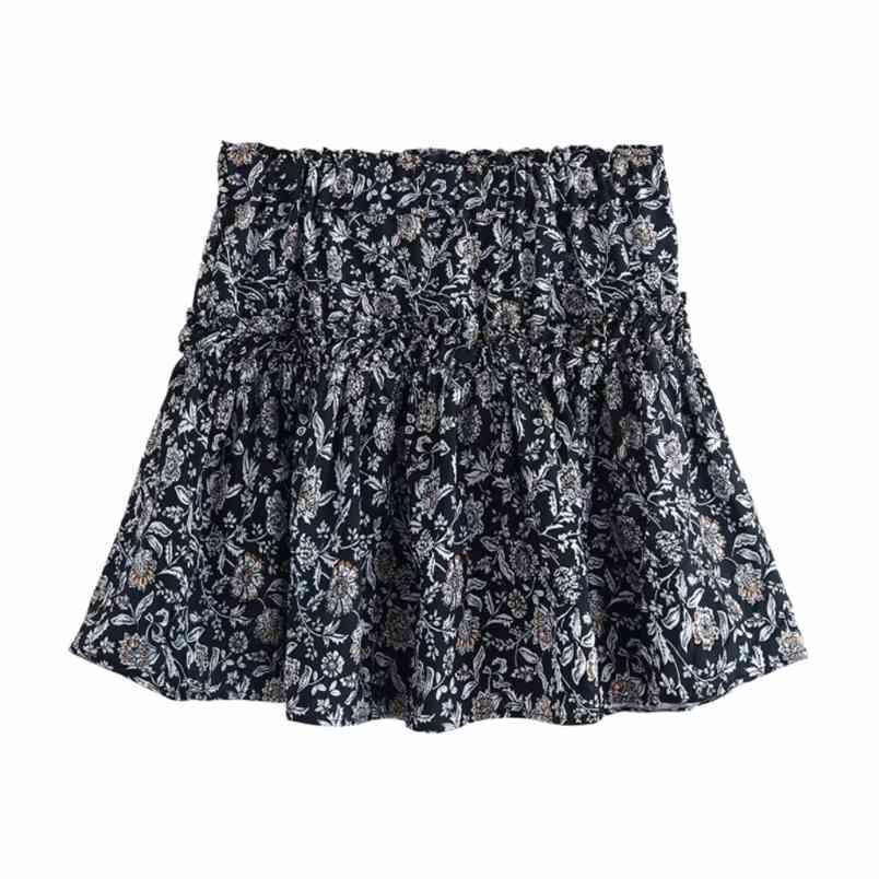 Femmes floral imprimé haute taille élastique mini jupe plissée Faldas Mujer Faldas Volides Vestidos Casual Slim Jupes Qun572 210420