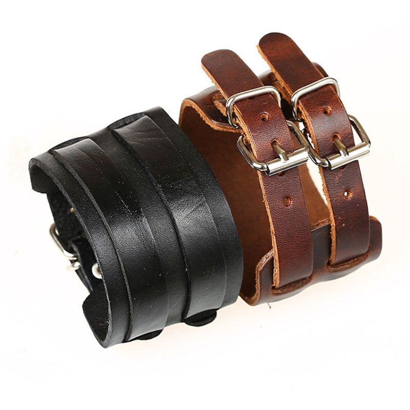 Double ceinture large Vintage véritable cuir punk bracelet bracelet bracelet réglable pour hommes bijoux