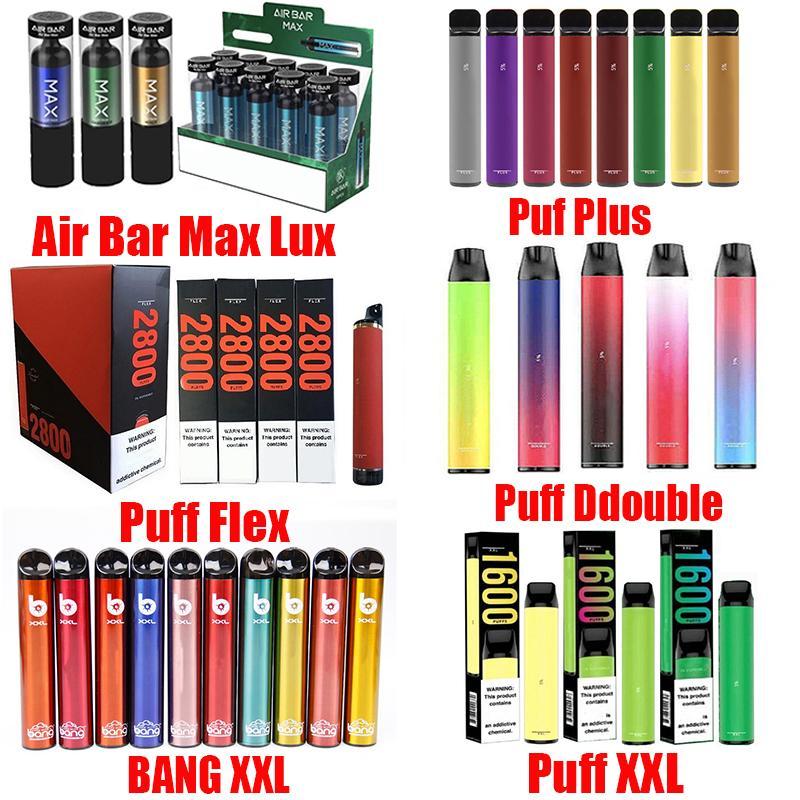 Bang XXL 에어 바 최대 럭스 퍼프 플렉스 프로 스위치 더블 포스 플러스 XL 일회용 장치 포드 키트 2in1 배터리 카트리지 2000 퍼프 프리 빌딩 vape 전자 담배