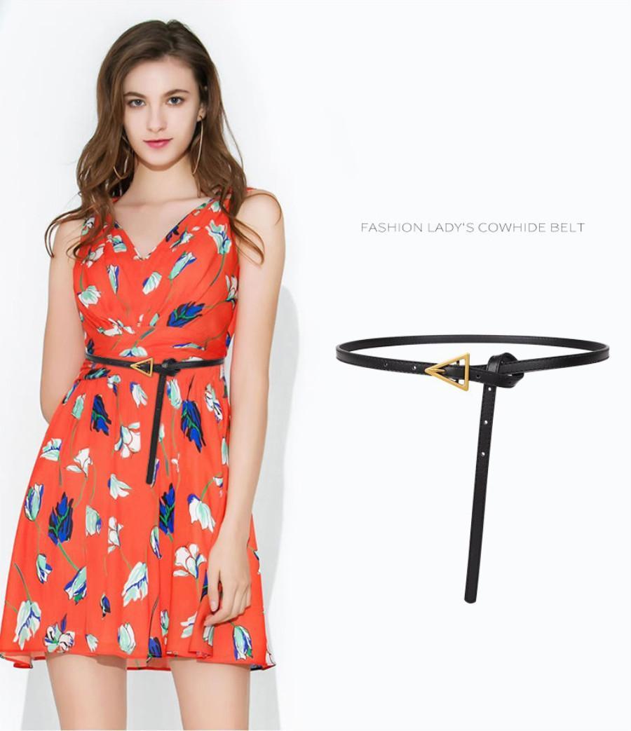 Cinturón para mujer moda calle triángulo diseño cinturones genuinos cuero de vaca 6 color de alta calidad