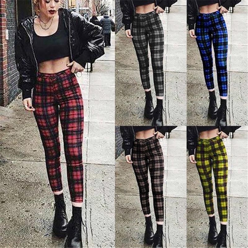 Women Plaid high waist Women's patterned Leggings casual pants elastic Fashion pencil