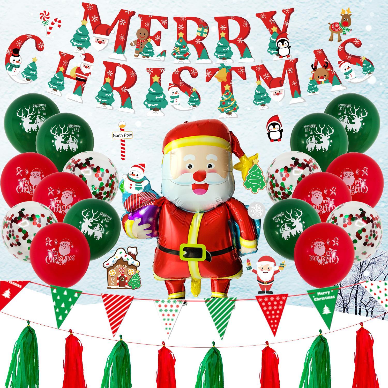 Nueva Navidad fiesta ventana fondo decoración rojo y verde bandera de aluminio globos