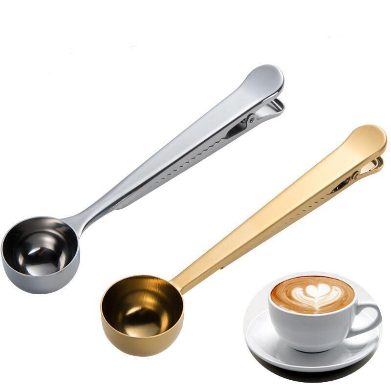 Edelstahl gemahlener Kaffee Messschaufel Löffel mit Tasche Dichtungsklinke Schwarz Gold Silber Farbe Eis Speiselöffel GWA7332