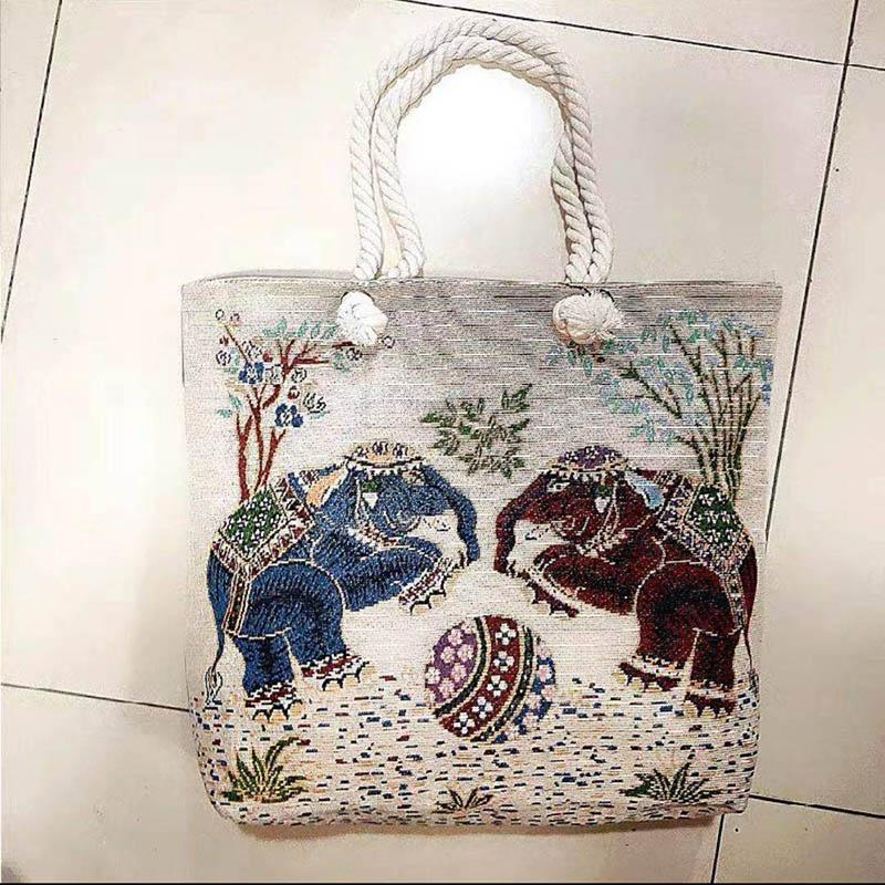 Thai style heavy rope single shoulder women's bag double side linen bagss elephant Tote Bags embroidery bagsss P040