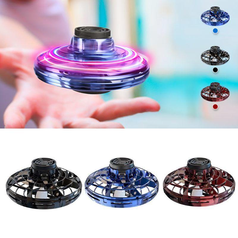 Flynova Mini Spinner Ring Leed ufo ufo flight flight Гиро Дрон Fidget Toys Стресс Рельеф Самолет Взрослый Детский Игрушка Подарочный стол Игрушка Q0423
