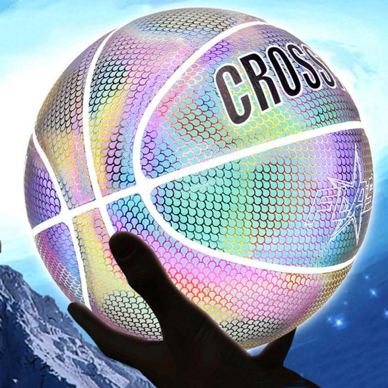 Size 7 Reflective Basketball Ball Glowing Basketball Luminous Light Basket Ball With Net Bag Gift Toys Set for Boys Girls