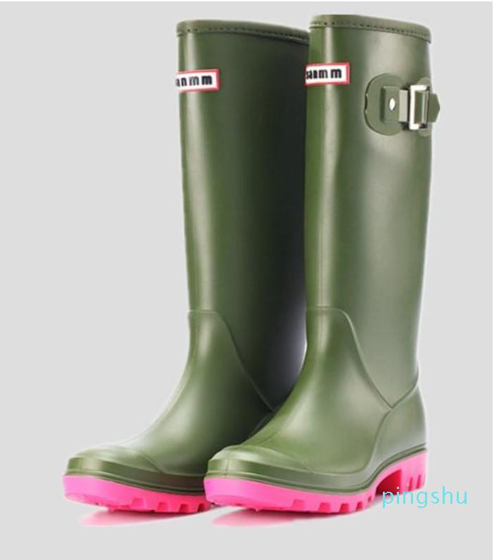 Rainboots Moda Knee-Alto Alto Botas de Chuva Inglaterra Estilo Impermeável Botas Welly Botas de Borracha Rainboots Sapatos de Água Rainsoes