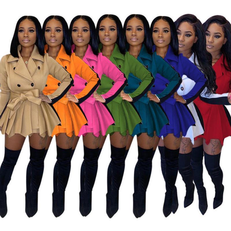2021 النساء اللباس مصمم ضئيلة معطف التباين اللون تنورة سترة الربيع طويلة الأكمام الأعلى مع حزام السيدات عارضة زائد حجم الملابس 835