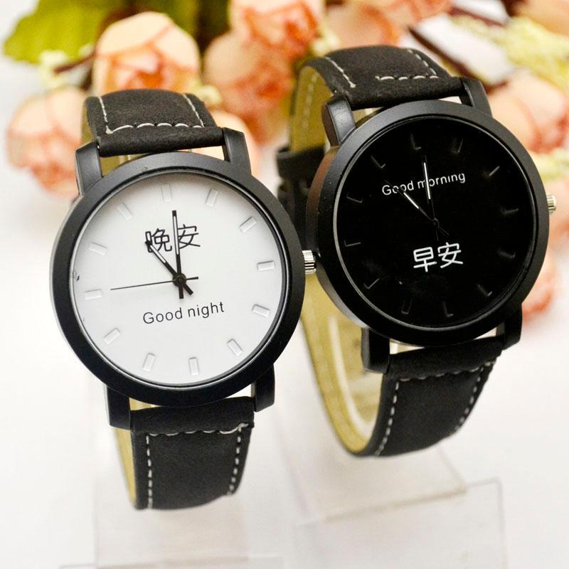 Armbanduhren Koreaner Guten Morgen, Nacht, Gürtel, Damentisch, Harajuku Mode Trend, Retro Einfache, Mittelschule Schatz, Damen