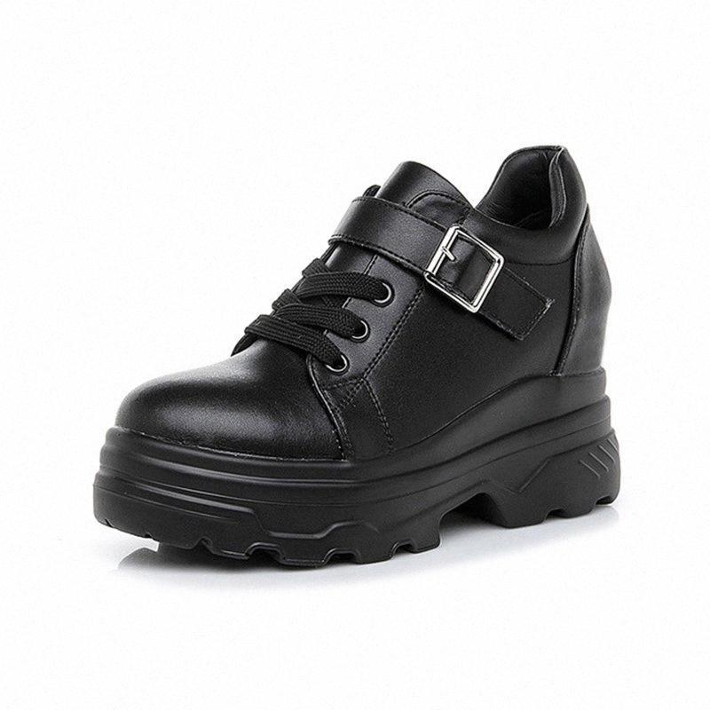 Zapatillas de deporte chunky para mujer 2019 primavera otoño cuero zapatillas negras zapatos damas zapatos ocultos mujer zapatos blancos zapatillas de deporte s0w9 #