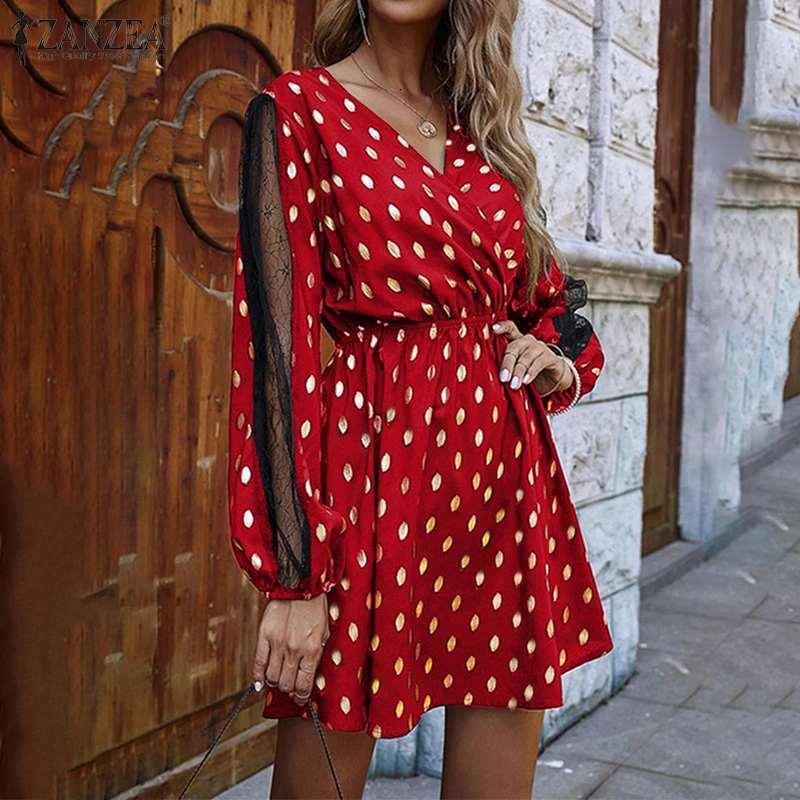 Elbiseler Fashoin Polka Dot Mini Elbise kadın Baskılı Sundress Casaul Puf Kollu Kısa Vestidos Kadın Yüksek Bel Robe Artı Boyutu H5K3