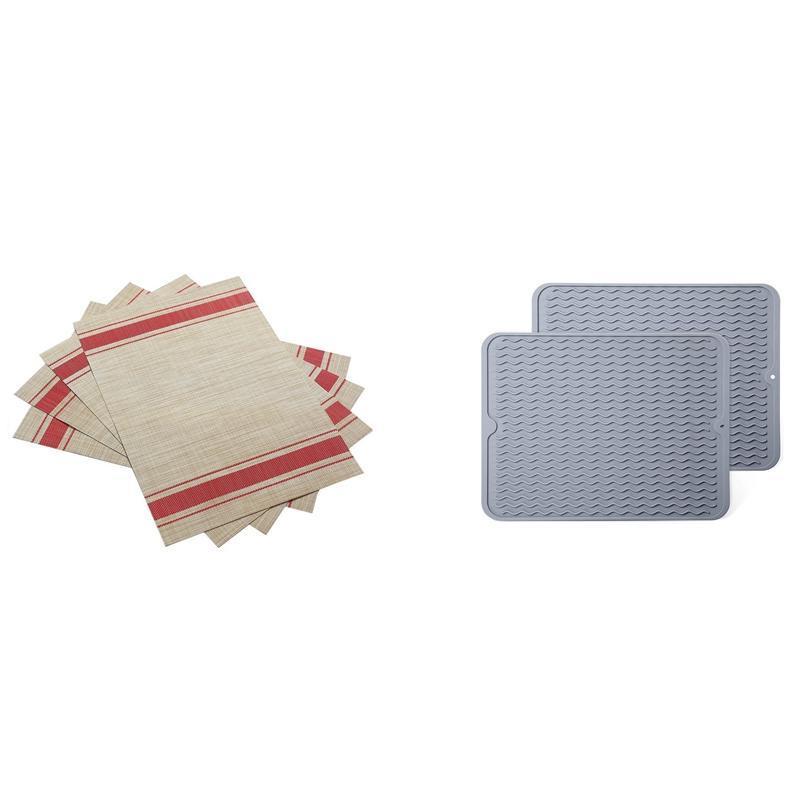 Matten Pads 4x Tischsets Hitzebeständige 2x Silikonschicht Trocknungsmatte für Küchenzählergrau
