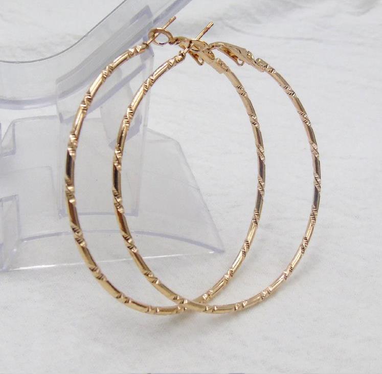 الجملة هوب أقراط 18 كيلو الذهب / الفضة مطلي 6 سنتيمتر أنيقة حجم كبير النساء أزياء حفر المجوهرات