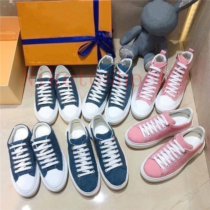 Stellar Sneaker Boot Donne Bleu Jeans Blue Denim Hi-Top Scarpe Scarpe Trainer Runner Pink Designer Sneakers Late Zip Suola in gomma Suola Casual Shoe