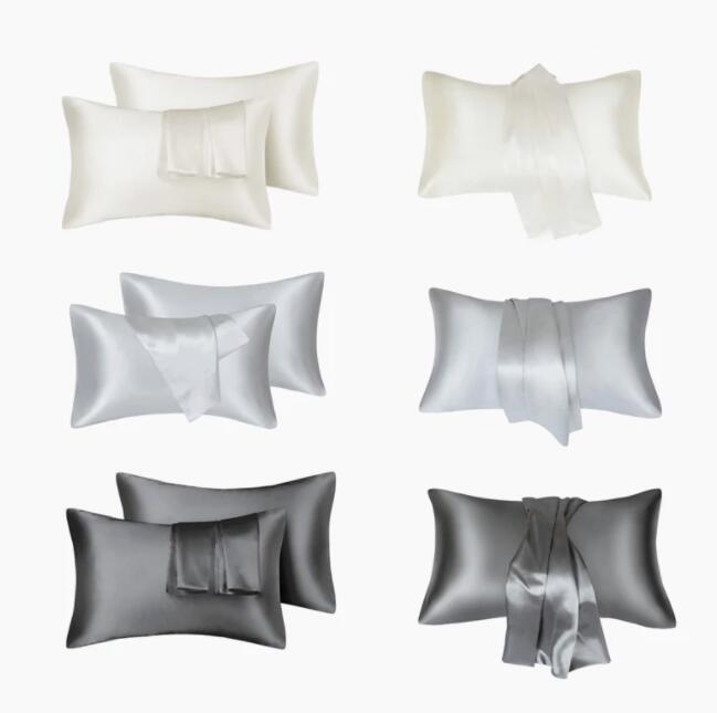 غطاء وسادة الساتان للشعر والجلد 2 حزمة القياسية مع إغلاق المغلف