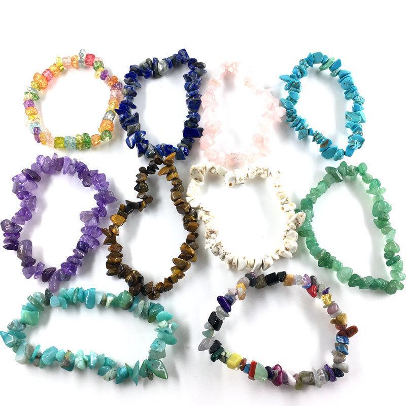 Multicolor Broken Natural Stone beaded Bracelets For Women Healing Crystal quartz Stone elasticity Wristband Mens Fashion Jewelry Gift797 T
