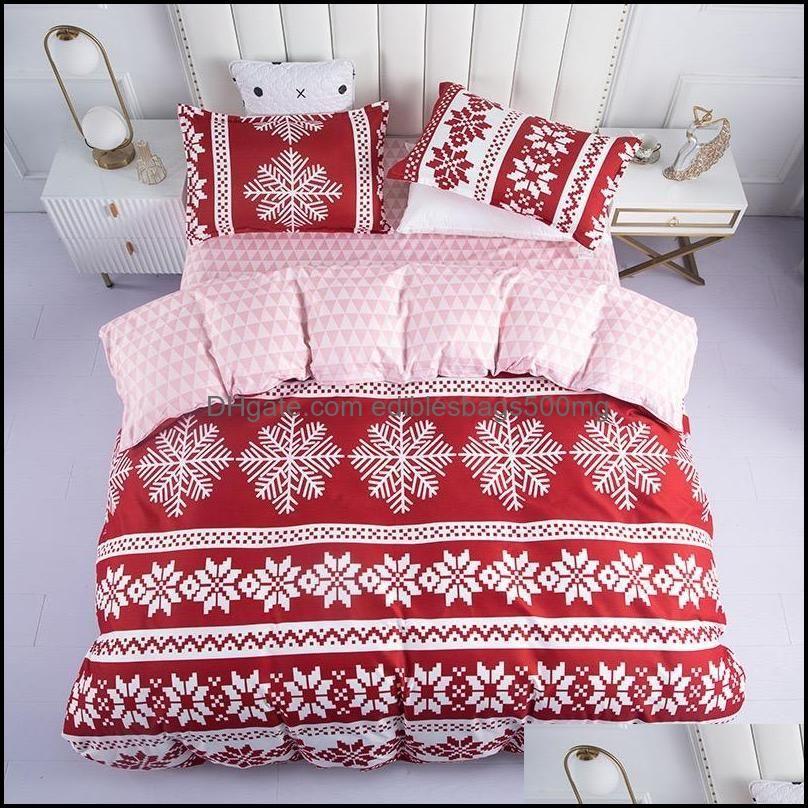 Bedding Supplies Textiles Gardenbedding Sets 4Pcs/Sets Home Christmas Flat Bedsheet & Quilt Er Set With Pillowcase Queen Comforter Soft Brea