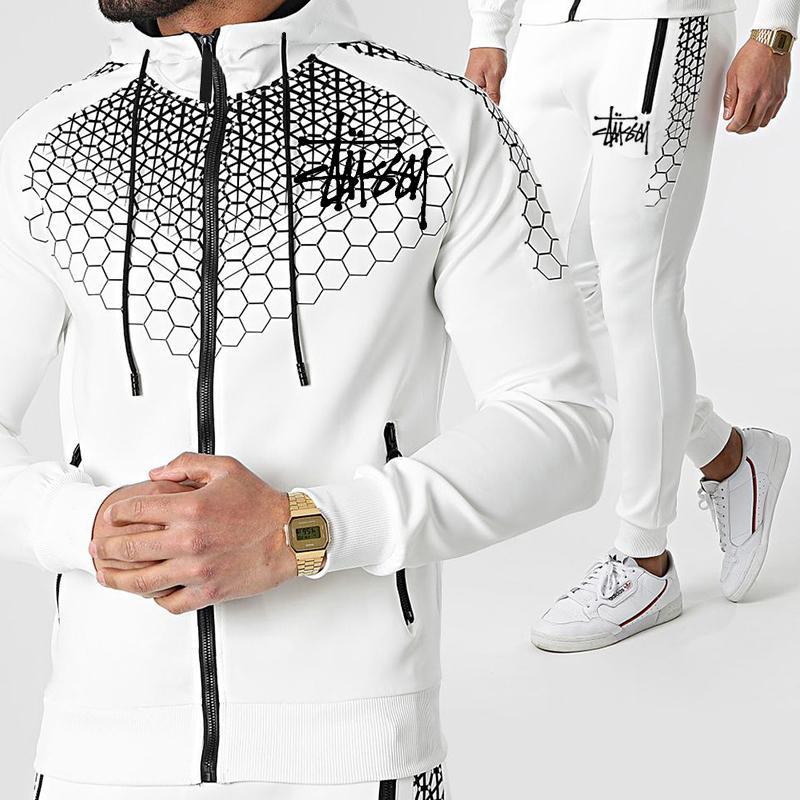 عيد الميلاد رجل رياضية 2021 الرجال مجموعات سستة البوليستر تنفس البلوز sweatpants مصمم رجل الرياضة اللياقة هوديي الملابس 3xl