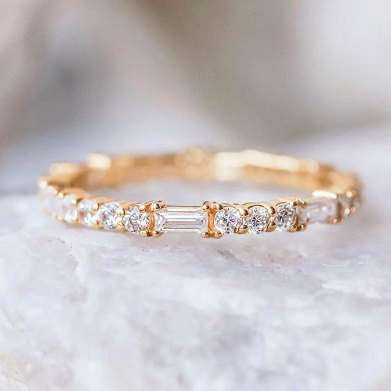 Cluster Rings Gold Ring With Bling Zircon Stone Silver Wedding Engagement Fashion Jewelry Bohemian 2021