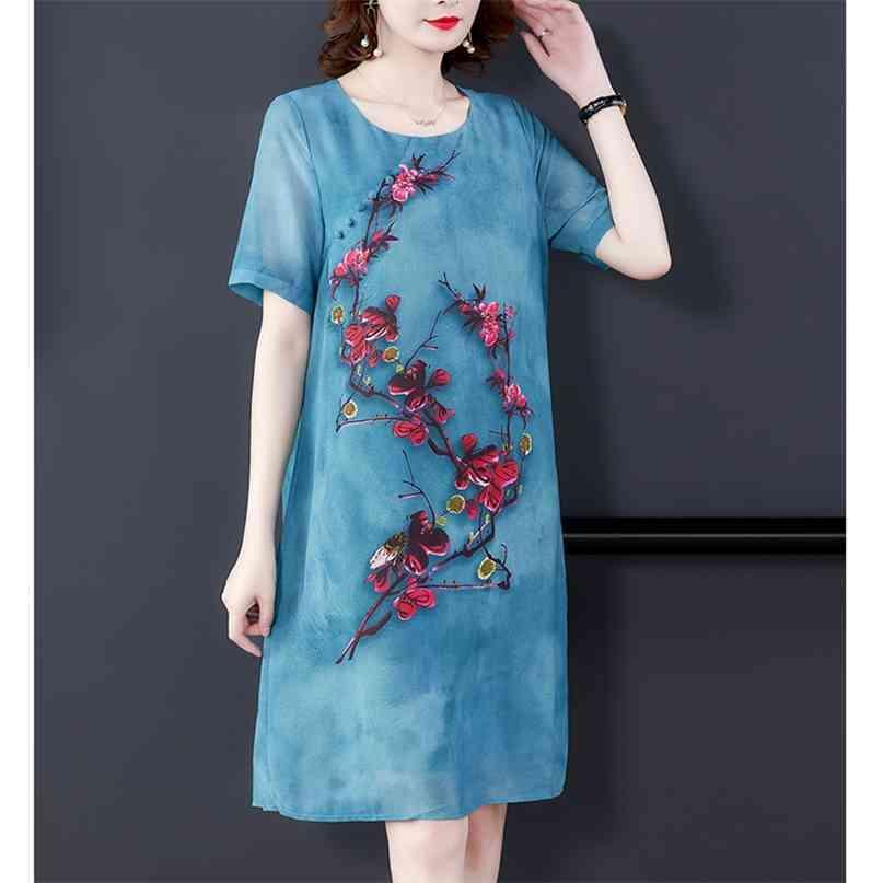 Sommer Hohe Qualität Blau Chiffon Kleid Mode Vintage 4XL Plus Größe Floral Runway Midi Elegante Frauen Bodycon Vestido 210603