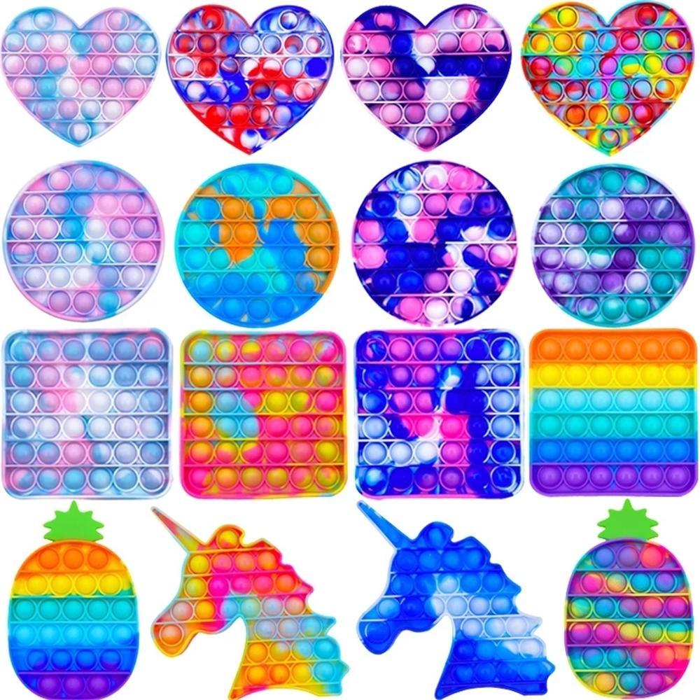 Didget игрушки Rainbow Push It Bubble Antistress игрушки для взрослых детей антистрессовый мягкий сенсорные подарки многоразовые сдавливания игрушки подчеркивание настольные игры DHL